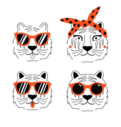set with tiger heads in red headband vector image