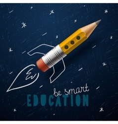 Smart education Rocket ship launch with pencil - vector