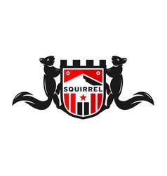 Squirrel shield logo design template vector