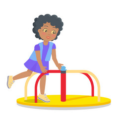 Swinging round carousel for children s playground vector