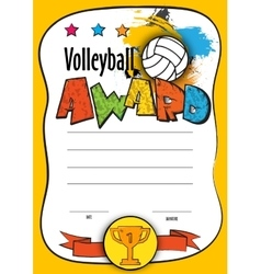 Template certificate volleyball vector