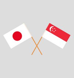 The singaporean and japanese flags vector