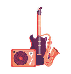Turntable with instruments vector