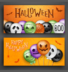 Two halloween concepts with 3d balloons scary air vector