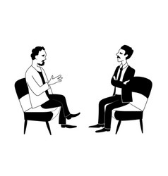 two men are talking black outline image vector image