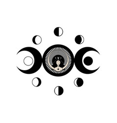 Wiccan woman icon triple goddess moon phases vector