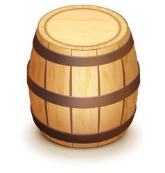 Wooden oak barrel for wine stand vertically vector