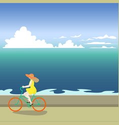 a girl on a bicycle rides along the sea shore vector image vector image