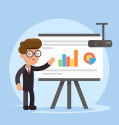 Businessman and graphs on projector screen vector
