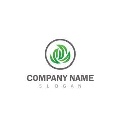 circle green leaf logo vector image