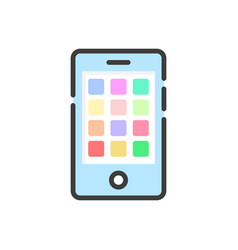 colored smartphone with mobile apps on white vector image