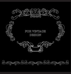 frame with floral ornament on black vector image