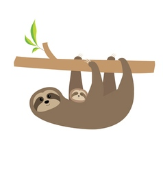 Sloth mother with baby Cute cartoon character Tree vector image