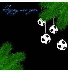 Soccer balls on Christmas tree branch vector image