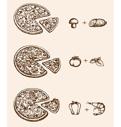 Vintage hand drawn pizza and ingredients vector image vector image