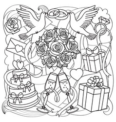 wedding objects set vector image