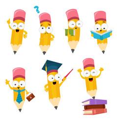 cute cartoon pencil characters set vector image