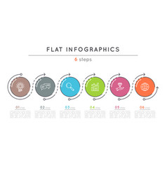 flat style 6 steps timeline infographic template vector image vector image