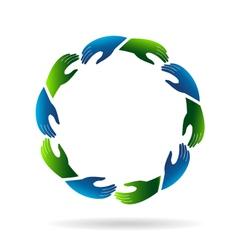 Hands reaching hands Logo vector image