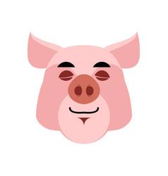 pig sleeping emoji piggy asleepl emotion on white vector image
