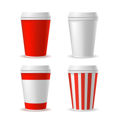 red blank plastic cup set vector image