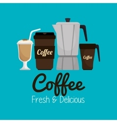 set icon coffee hot and fresh graphic vector image