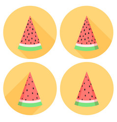 watermelon slices set in flat style with circles vector image vector image