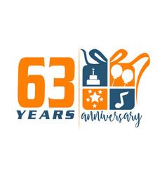 63 years gift box ribbon annivers vector