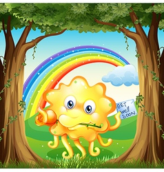 A monster with a get-well-soon card and a rainbow vector image