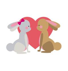cute easter couple rabbit heart romantic vector image