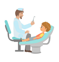 dentist checking teeth of little boy part of kids vector image