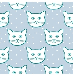 Seamless pattern with cute cats animal and snow vector image