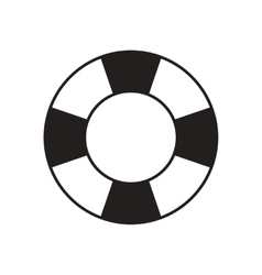 Flat icon in black and white lifebuoy vector
