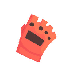 Red sportive protective glove cartoon vector
