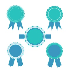 Retro blue color set of ribbon banner badges vector image