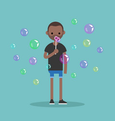 young black character blowing soap bubbles flat vector image vector image