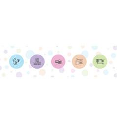 5 preschool icons vector