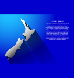 abstract map of new zealand with long shadow on vector image