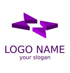 abstract violet star isometric logo vector image