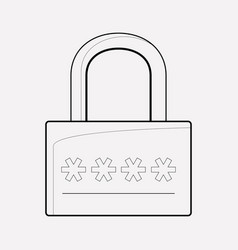 access code icon line element vector image