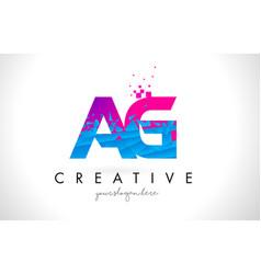 ag a g letter logo with shattered broken blue vector image