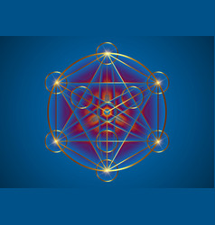 alchemy occult mandala gold metatrons cube logo vector image