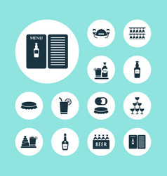 alcohol icons set with liquor bottle opener ale vector image