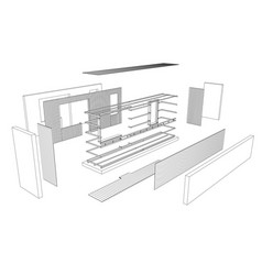 Architect 3d drawing of balcony vector