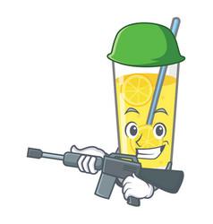Army lemonade character cartoon style vector