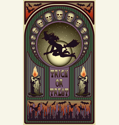 art nouveau halloween card witch and moon vector image