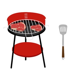 Barbeceu grill steaks and spatula vector image