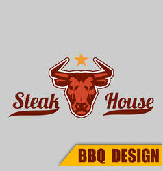 Bbq cow steak house image vector