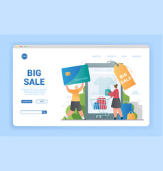 big online sale concept with couple shopping vector image