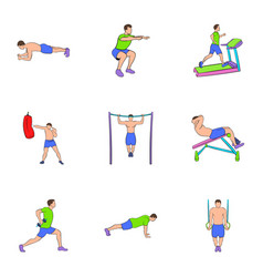 bodybuilding icons set cartoon style vector image